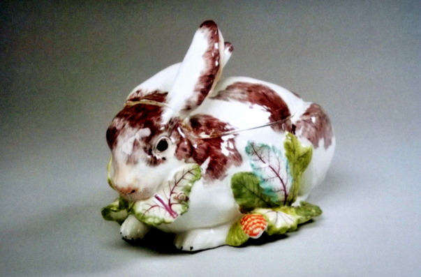 Rabbit shaped ceramic tureen
