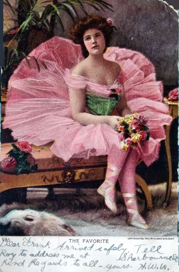 Old photo of a woman in a pink tutu