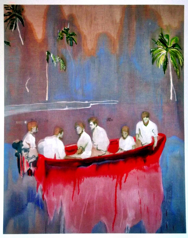 Painting of six people all dressed in white  in a red boat