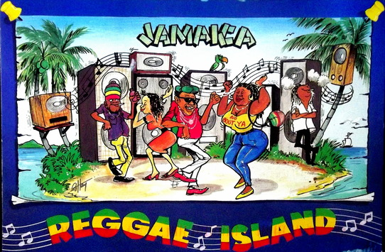 Illustration of Jamaicans dancing to reggae music