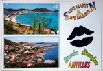 Two images of the coast of Saint Martin with kissing lips cut through the postcard