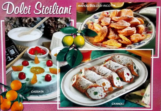 Three Italian desserts are depicted