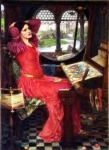 Painting of the Lady of Shalot at her loom with a mirror showing Camelot