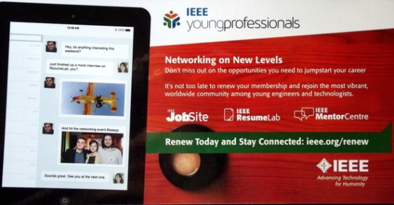 Reverse side of postcard with description of the benefits of joining IEEE