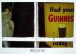 A cat closes the blinds before having a drink of Guiness beer