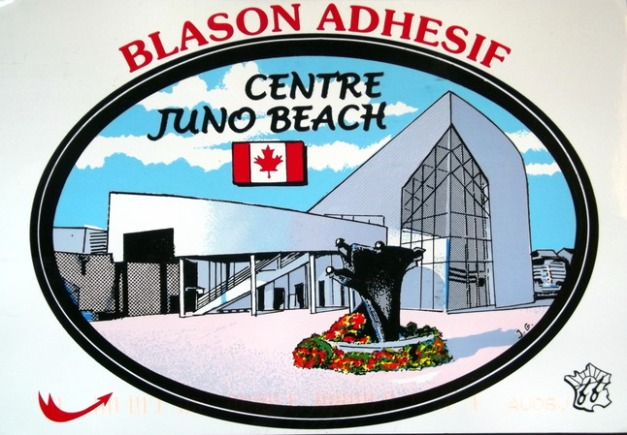 A building with an image of the Canadian flag and the caption Centre Juno Beach