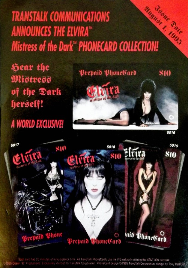 Elvira Mistress of the Dark Phone Cards Ad
