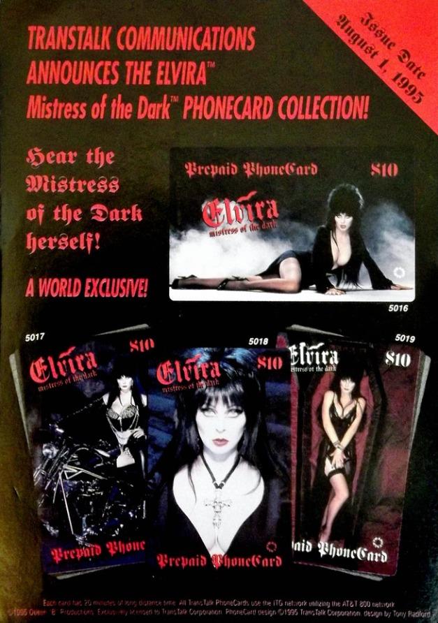 Elvira Mistress of the Dark Phone Cards Ad