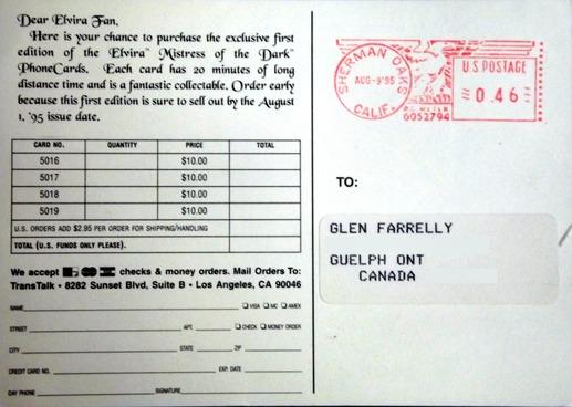 Back of postcard describing price of Elvira phonecards