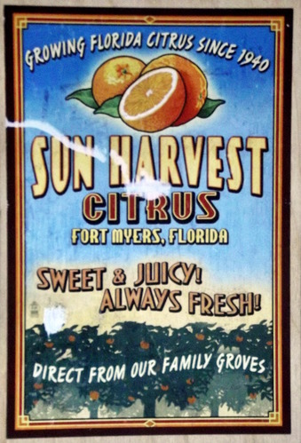 "Wooden postcard designed to look like an orange crate with the caption: ""Growing Florida Citrus since 1940. Sun Harvest Citrus Fort Myers, Florida. Sweet and Juicy! Always Fresh!"""