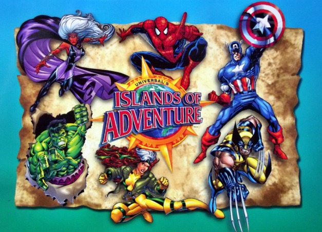 "Marvel superheroes surround a map with the caption ""Islands_of_Adventure"""