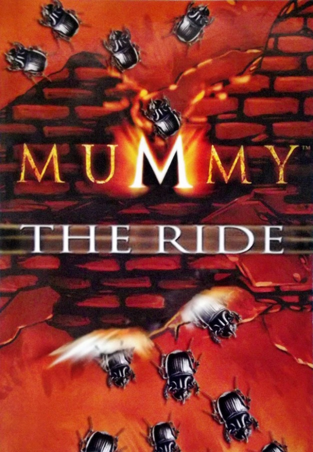"A pyramid is bursting open with scarabs crawling out of it with the caption ""Mummy the Ride"""