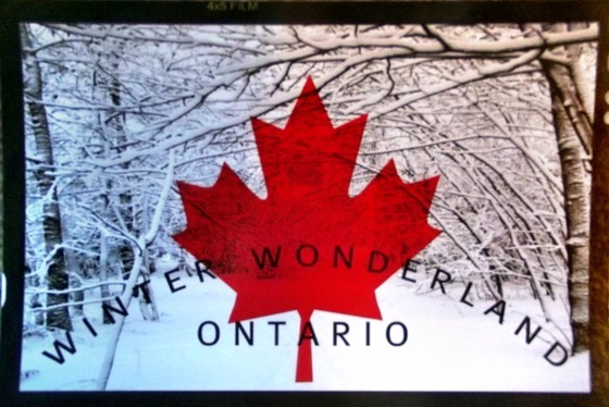 "The Maple Leaf is transposed over a scene of snow with the caption ""Winter Wonderland Ontario"""