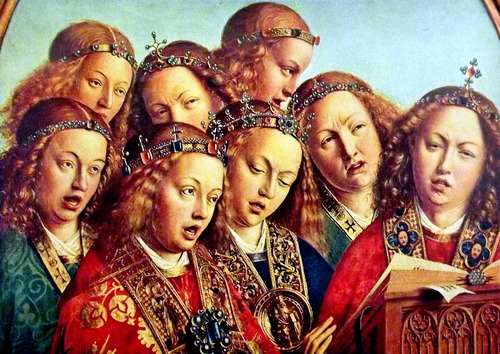 Detail of a painting with a group of rather grumpy looking angels singing