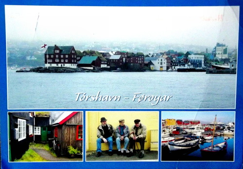 Images of the Faroes, including a small coastal village, fisher men, an old house, and fishing boats