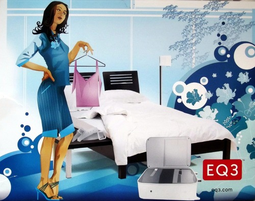 Illustration of a woman holding a top in a stylish bedroom