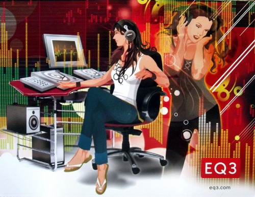 Illustration of a woman at a computer