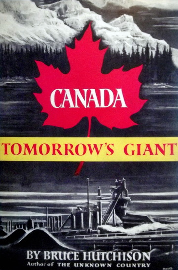 "Image of a book old book cover with a maple leaf and the caption ""Canada Tomorrow's Giant"""