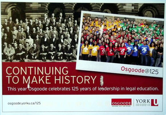 "Class photos of Osgoode students now and 150 years ago with the caption ""Continuing to Make Histoery"""