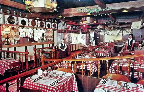 Photo of a rustic looking restaurant with 1970s era decor