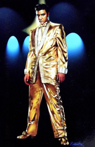 Elvis Presley in a gold suit