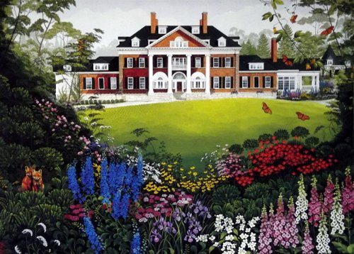 Drawing of a federalist style country estate with lush garden in front