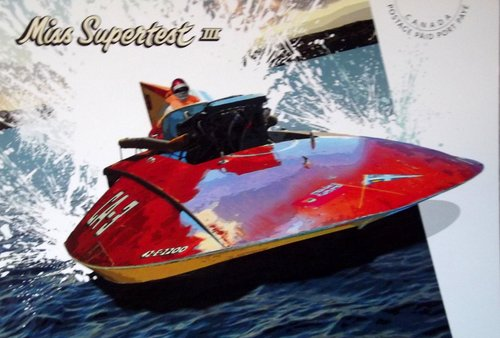 Photo of a speed boat with the caption Miss Supertest 3