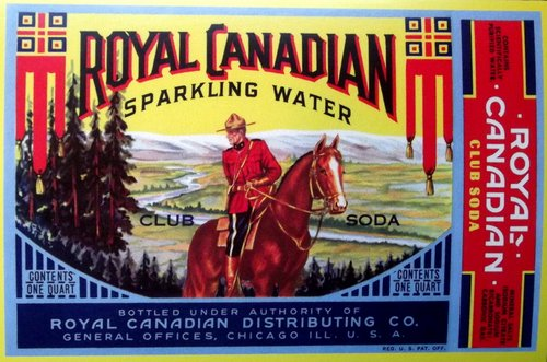 "Illustration of a mountie on horseback with mountains behind advertising ""Royal Canadian sparkling water"""