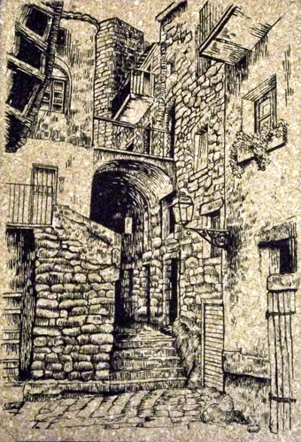 Ink drawing of an old building