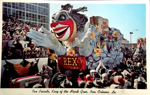 1950s era Mardi Gras float with the caption
