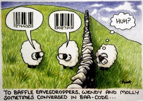 "Illustration of sheep with speech bubbles indicating they are saying bar codes to each other, with the caption ""To baffle eavesdroppers, Wendy and Molly sometimes conversed in Baa-code."""