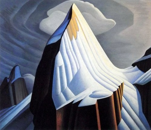 An oil painting of an ice-capped mountain