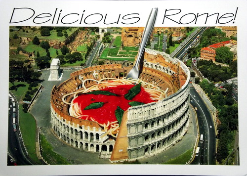 The Roman coliseum with a pasta in it