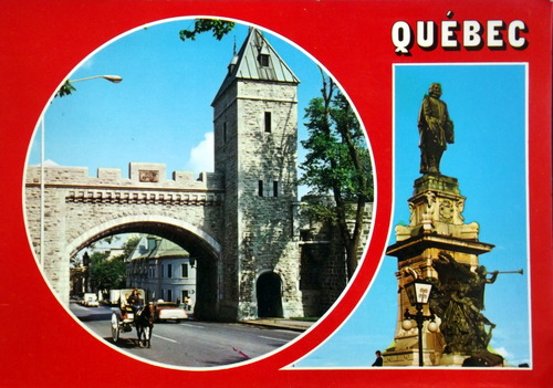 postcard of Quebec City's old gate and statue