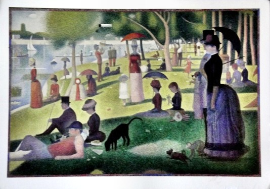 Reproduction of Seurat's painting of people enjoying a Sunday in the park