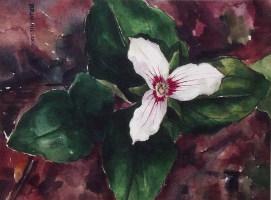 A painting of a trillium flower