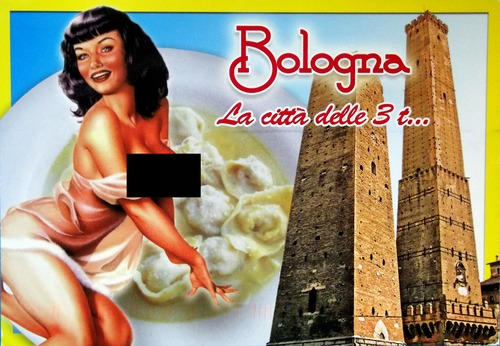 A topless woman, tortellini, and towers of Bologna