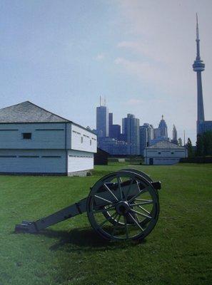 The old fort with the modern city of Toronto behind