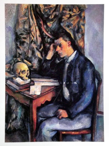 A painting of a man sitting on a desk with a skull beside him