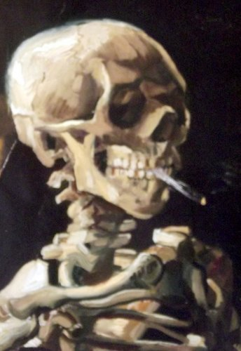 A skeleton smoking a cigarette