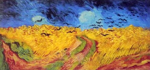 Painting of crows over a field