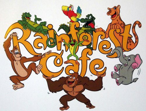 animals on the word Rainforest Cafe