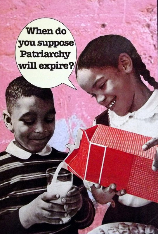 """A girl pour milk for her brother with the caption """"When do you suppose patriarchy will expire?"""""""