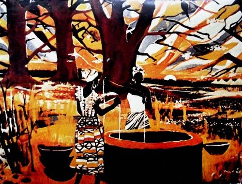 batik style image of Gambian women