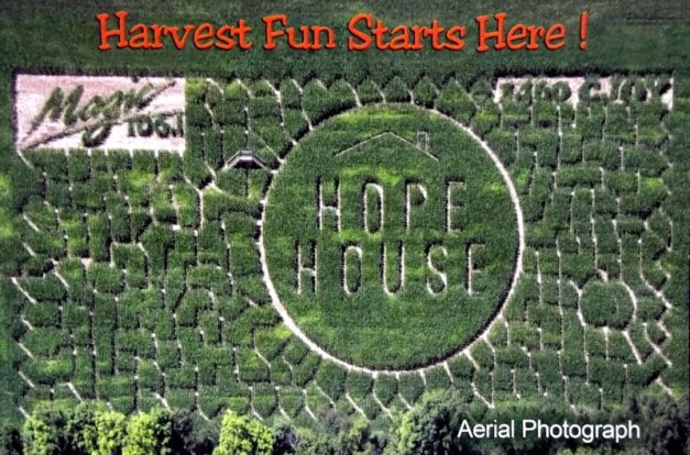 Aerial photo of a corn maze with the caption
