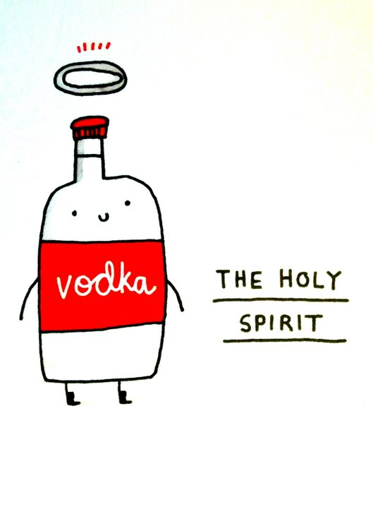 "A bottle of vodka with the caption ""The Holy Spirit"""