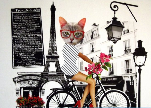 A woman with a cat head rides a bike past the Eiffel Tower
