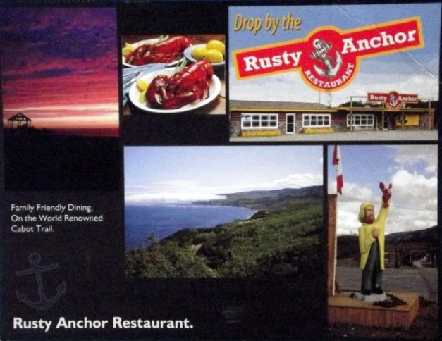 Images of the Cabot Trail and the Rusty Anchor Restaurant and lobsters