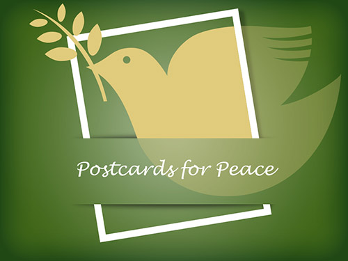 A dove with the caption Postcards for Peace
