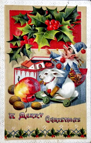 Holidays scenes and a bunny with caption Merry Christams